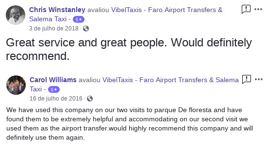 Transfers in Algarve - Review Facebook